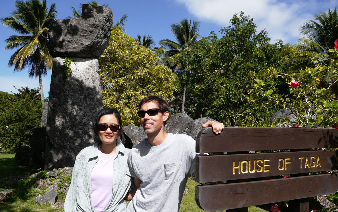 Dr. Mike T. Carson and Dr. Hsiao-chun Hung at the House of Taga site on Tinian